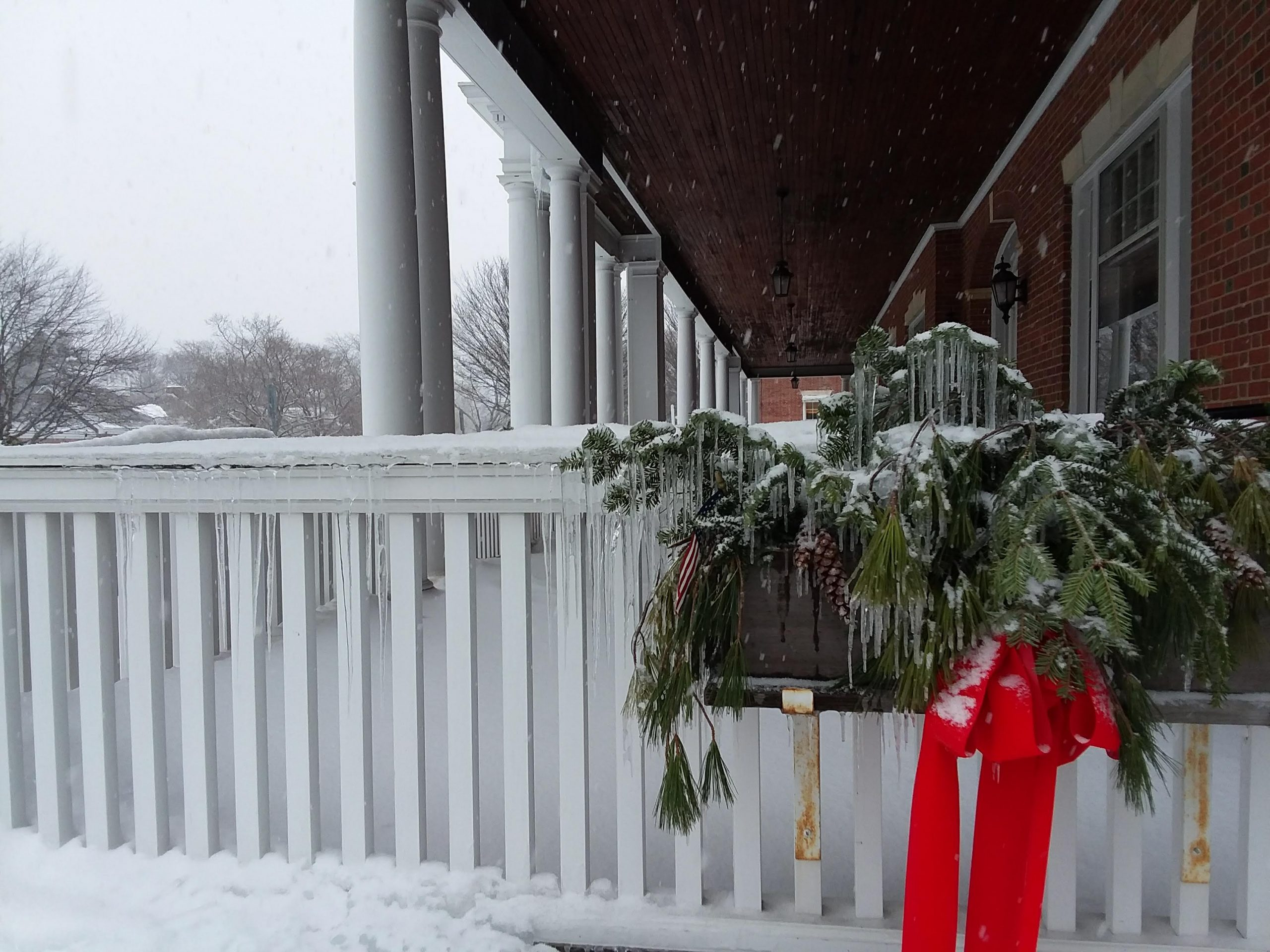 Curtis Hotel, Lenox, MA icy Christmas wreath.