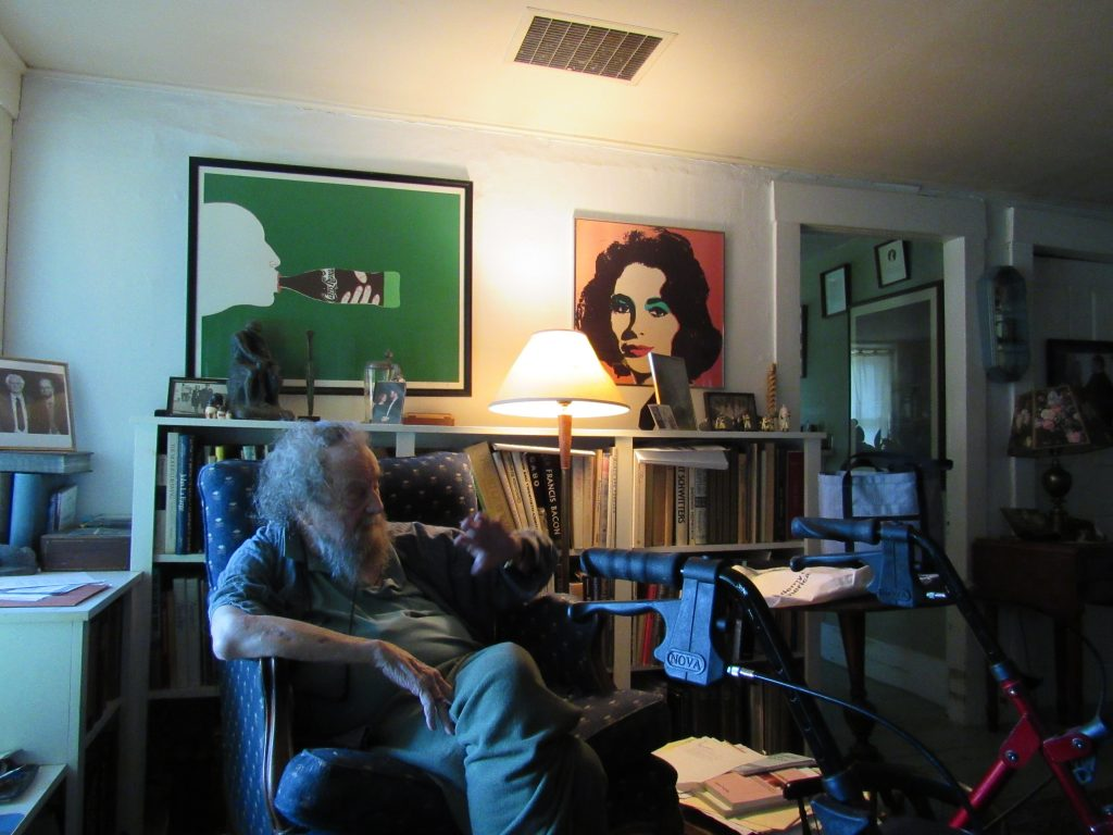 Poet Donald Hall, in his blue chair near the window.