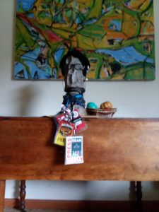 Freddy the Freelancer; Dave Read sculpture & photo.